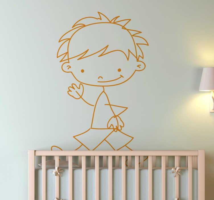 TenStickers. Laufender Junge Aufkleber. Mit diesem Comic Wandtattoo Design können Sie die Wand im Kinderzimmer schnell und einfach dekorieren.