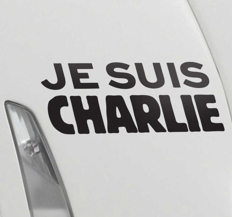 """TenStickers. Sticker je suis charlie. Een muursticker met de bekende slogan """" Je suis Charlie"""" toegewijd aan de Franse satirische krant Charlie Hebdo."""