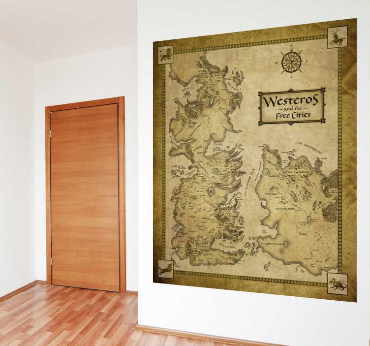 TenStickers. Sticker kaart Game of Thrones Westeros. Deze sticker omtrent een gedetailleerde kaart van Westeros met het westelijke deel van Essos uit de serie Game of Thrones. Ideaal voor fans!