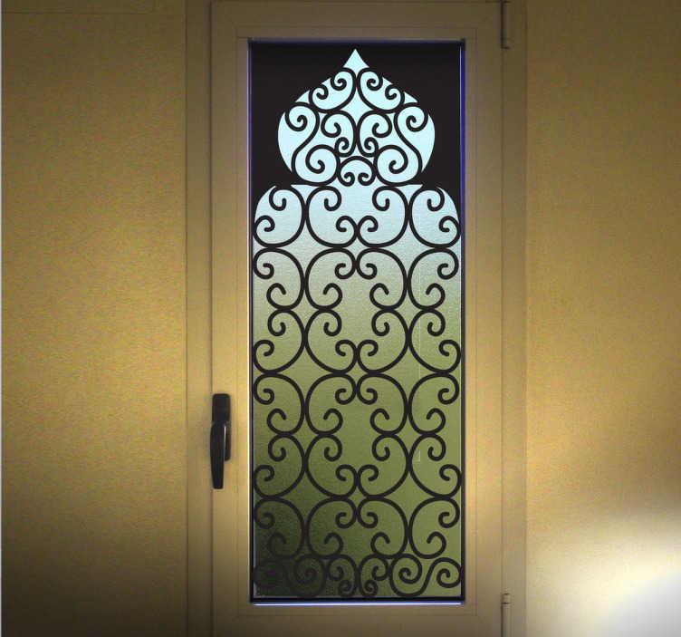 TenStickers. 아랍 스타일의 창문 데칼. Arabic wall stickers - 이슬람 건축에서 영감을 얻은 아라베스크 양식의 집. 아랍어 벽 데칼은 다양한 크기와 50 가지 색상이 있습니다.