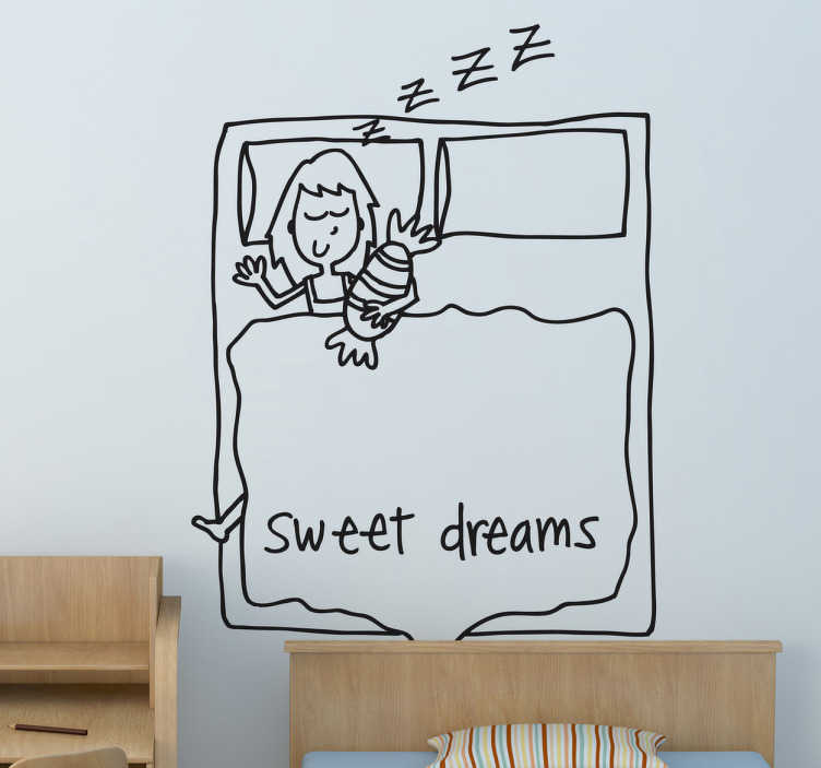 TenStickers. Deya sweet dreams wall decal. Decorative drawing wall art decal for children bedroom space.  It is featured with the text '' sweet dream''. Available in any required size.