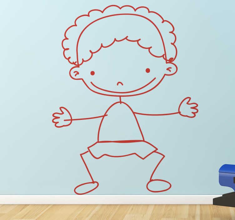 TenStickers. Adesivo cameretta bimbo 90. Sticker decorativo che raffigura un bambino stilizzato che fa da portiere durante una partita di calcio. Una decorazione originale per la camera dei piccoli.