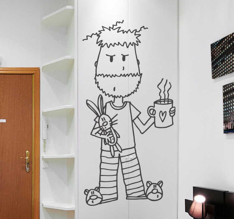 TENSTICKERS. パジャマイラストの壁アートデカールの男. 描画スタイルのパジャマ姿の男性の例示的な壁ステッカーデザイン。粘着性があり、簡単に塗布できます。必要なサイズで購入してください。