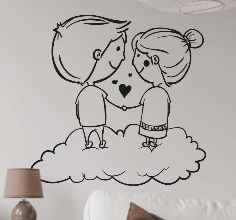 TenStickers. Sticker couple ciel. Décorez votre espace avec ce sticker unique et original qui représente deux enfants amoureux.