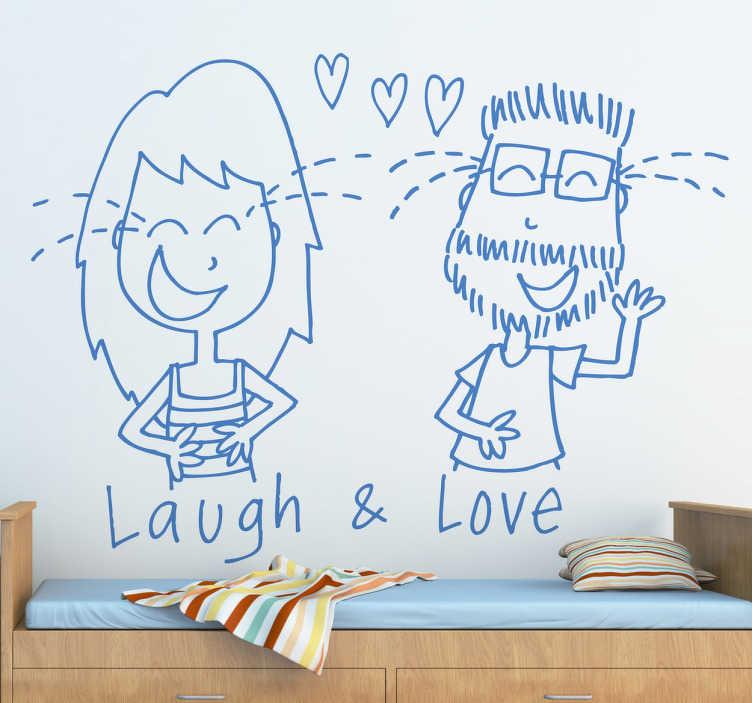 TENSTICKERS. 笑って愛するバレンタインデーの壁用ステッカー. 幸せなバレンタインデーの壁のステッカーデザインの漫画のデッサンのテキスト「笑いと愛」で特集。必要なサイズで利用できます。