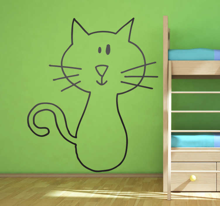 Sticker enfant dessin chat Deya