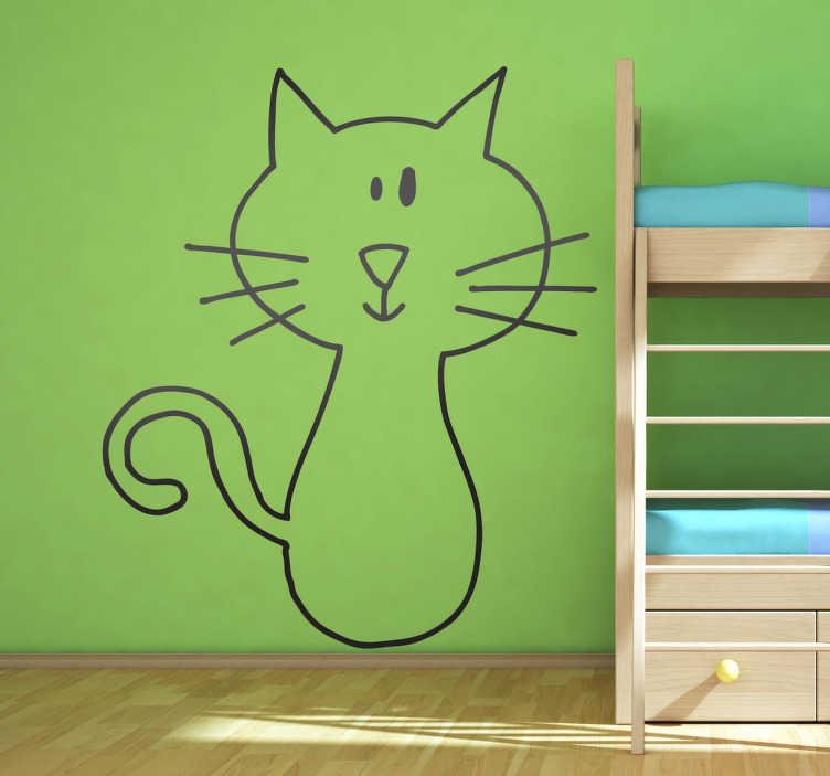 TenStickers. Wall sticker gatto. Wall sticker che raffigura un piccolo gattino. Un disegno molto semplice ed originale.