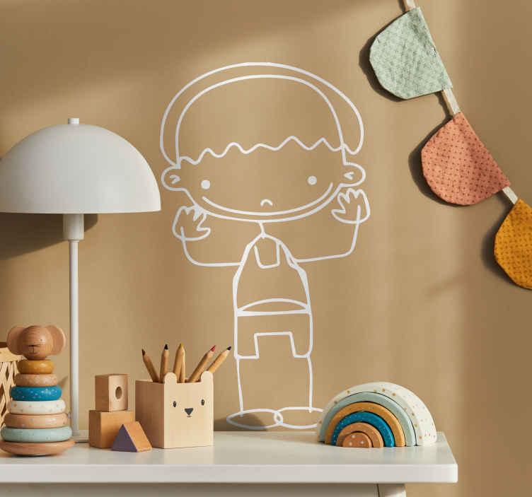 TenStickers. Naklejka dziecięca chłopczyk z rękami do góry. Naklejka dziecięca, która przedstawia małego sympatycznego chłopca w rękami w górze. Oryginalna naklejka do dekoracji pokoju dziecięcego.