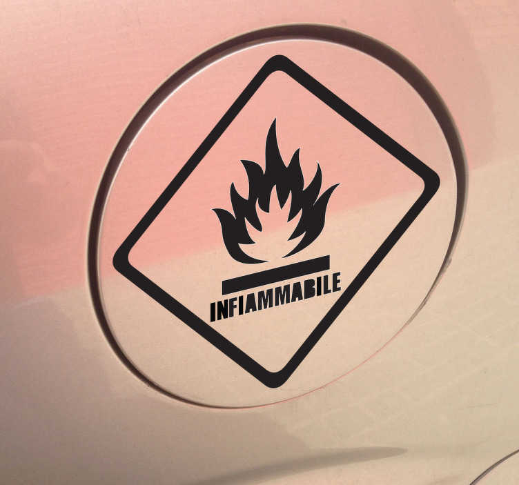 Sticker logo infiammabile