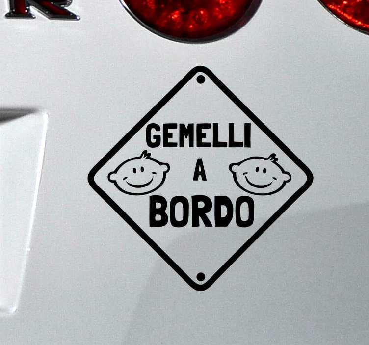 TenStickers. Sticker decorativo gemelli a bordo. Adesivo decorativo originale per la tua macchina,ideale per avvisare gli altri conducenti che a bordo con te ci sono i tuoi gemelli.