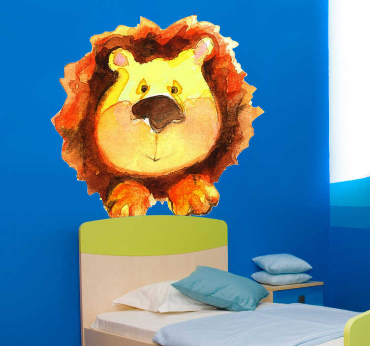 Sticker enfant aquarelle lion