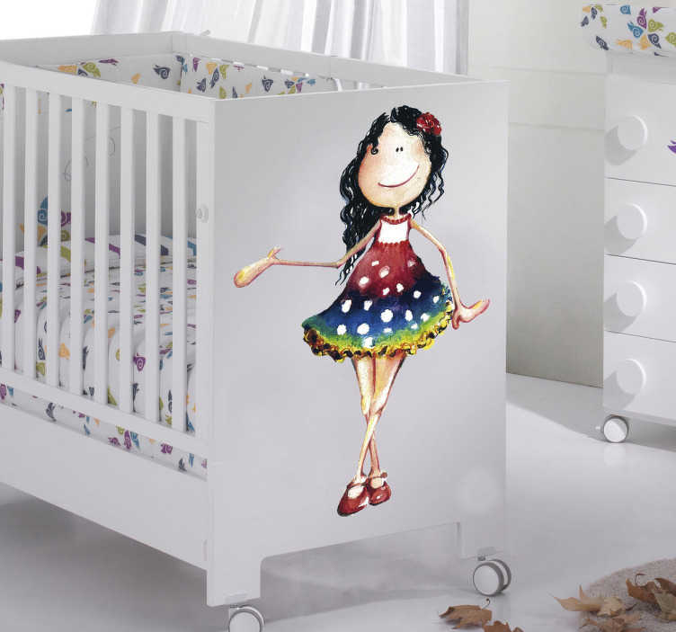 TenStickers. Little Girl in Dress Kids Decal. This wall decal of a little girl in a colourful dress is ideal to decorate the nursery of your newborn in a very unique way!