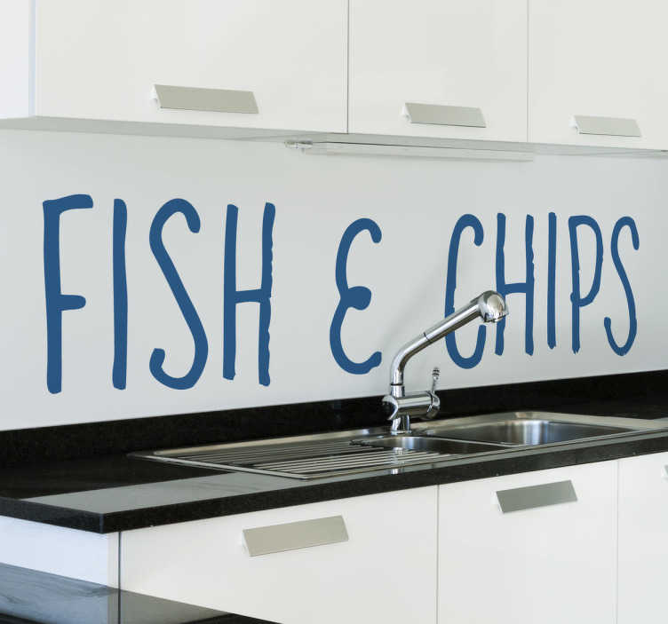 TenVinilo. Vinilo decorativo fish and chips. Adhesivo que recuerda a típica comida Inglesa. Lo puedes elegir en 50 colores y en el tamaño que mejor quede en tu cocina, nevera o pared.
