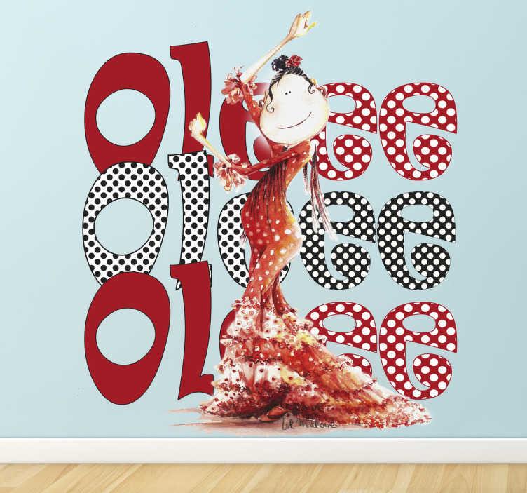 """TenStickers. Sticker enfant ole. Un sticker coloré et original pour décorer votre espace façon flamenco aux couleurs de l'Espagne. Une danseuse de flamenco vêtue d'une robe rouge à pois blancs devant trois grands """"Olés"""" imaginée par l'illustratrice Lol Malone en exclusivité pour tenstickers.fr."""