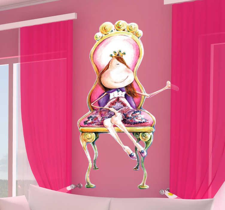 TenVinilo. Vinilo infantil princesa en el trono. Espectacular vinilo para el cuarto de tu hija con una colorida pintura realizada por la ilustradora Lol Malone.Si en casa tienes una pequeña princesita y quieres que su habitación sea acorde a su estatus en casa... ¿qué mejor que regalarle este original adhesivo para decoración totalmente exclusivo?