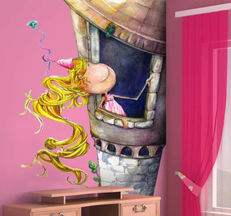 TenStickers. Sticker bambini Raperonzolo. Adesivo principesco con un disegno con la principessa dai lunghi capelli biondi che si trova intrappolata in un'alta torre.