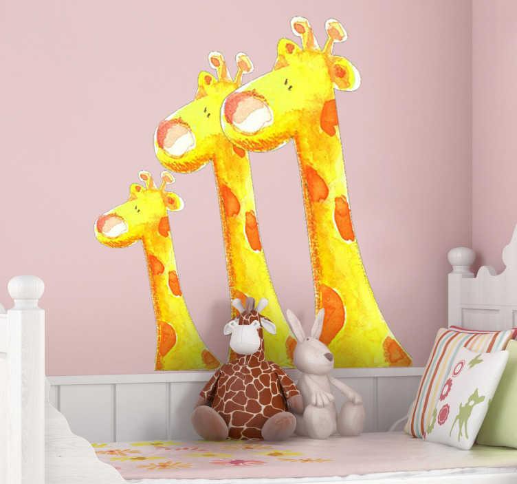 Naklejka na ścianę trzy żyrafy