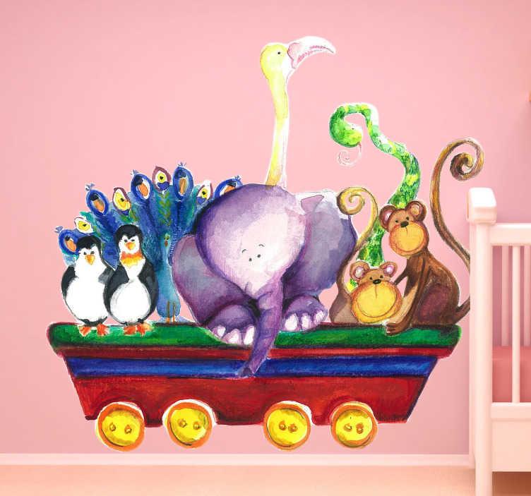 vinilo infantil vagón animales