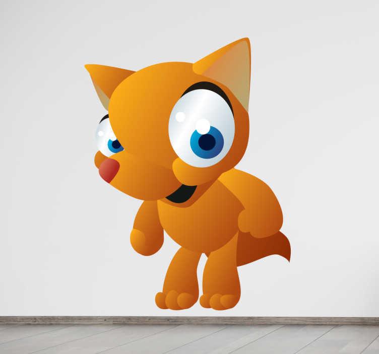 TenStickers. Sticker enfant animal renard. Stickers pour enfant illustrant un renard aux grands yeux bleus. Super idée déco pour la chambre d'enfant et tout autre espace de jeux.