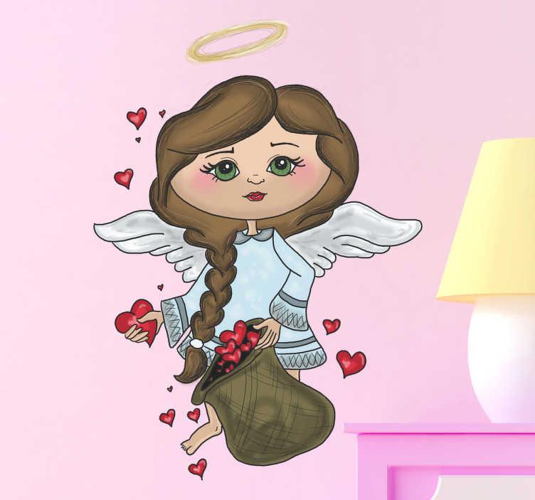 TenVinilo. Vinilo infantil ángel saco corazones. Ilustración en adhesivo para decoración de habitación infantil con un dibujo de una joven ángel repartiendo corazones.Una manera original y exclusiva de celebrar el amor en tu casa con un dibujo de Apatino Art, una linda Santa Valentín alada. Regala este vinilo a tus seres más queridos.