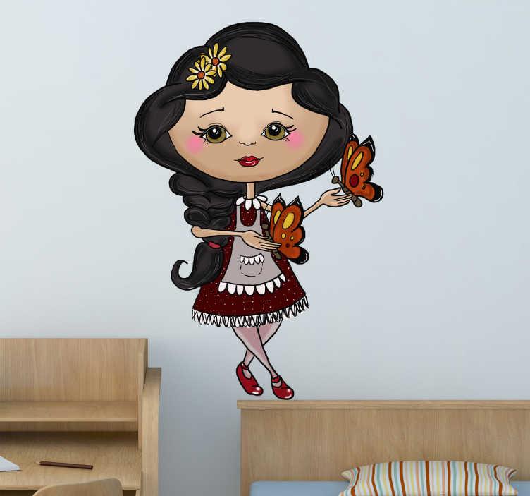 TenStickers. Sticker kinderen meisje met vlinders. Een leuke muursticker van een meisje met bloemetjes in haar haar en 2 vlindertjes vast. Decoreer de kinderkamer van uw kind op een originele manier.