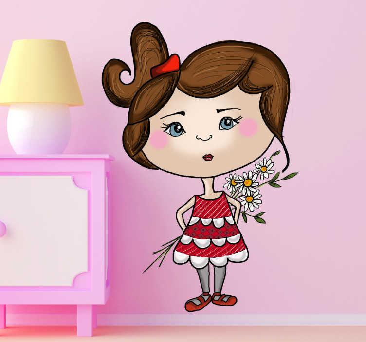 TenStickers. Naklejka dziewczynka z kwiatami. Oryginalna naklejka na ścianę przedstawiająca dziewczynkę ukrywająca za sobą bukiet stokrotek. Obrazek zrealizowany przez artystę, grafika Apatino Art.