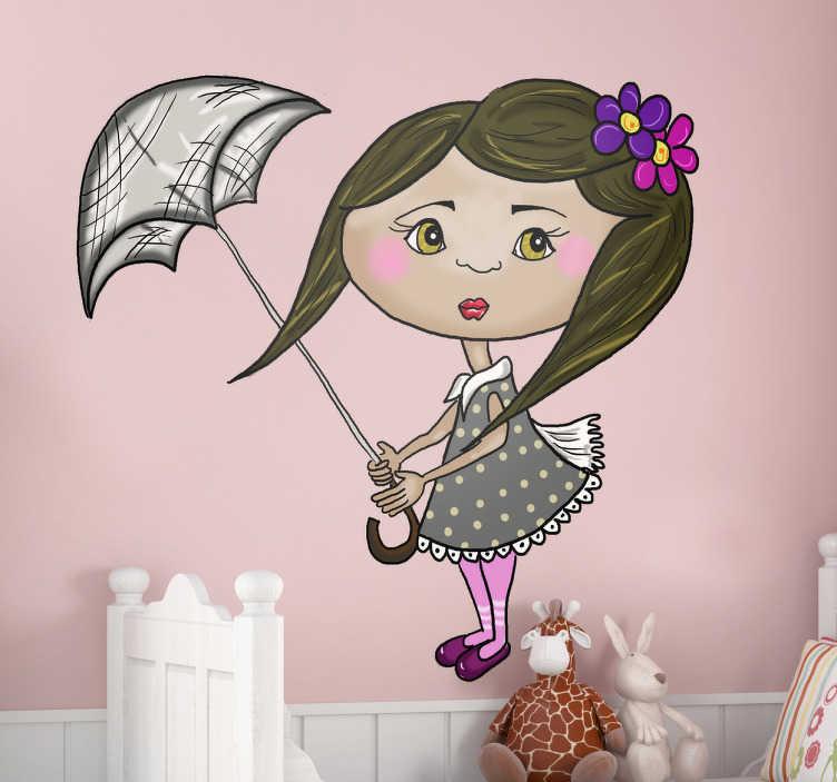 TenVinilo. Vinilo infantil muñeca paraguas. Original adhesivo con una ilustración de una linda niña sosteniendo su sombrilla que es arrastrada por el viento.Un dibujo realizado por la artista gráfica Apatino Art en exclusiva para tenvinilo.com de una joven con vestido gris de topos y dos flores violetas en su pelo.
