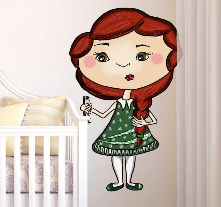 TenStickers. Muursticker Meisje met Kam. Wanddecoratie voor de kinderkamer. Personaliseer de kamer van uw dochter met deze leuke muursticker dat een klein meisje met een kam weergeeft.