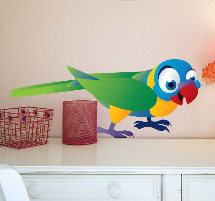 TenVinilo. Vinilo infantil animal cotorra. Super colorido vinilo decorativo infantil con una cotorra verde de patas amarillas, cabeza azul y pico rojo.