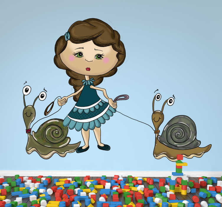 TenVinilo. Vinilo infantil niña dos caracoles. Adhesivo para la decoración de una habitación infantil de una joven paseando a una pareja de caracoles.Un fantástico dibujo realizado por Apatino Art para tenvinilo.com de una elegante joven de vestido azul arrastrando a estos dos moluscos con caracola.