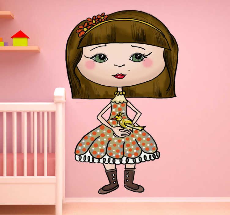 TenStickers. Mädchen mit Vogel Aufkleber. Ein Mädchen mit einem bunten Kleid und einem Vogel auf der Hand als Wandtattoo - ideal für das Kinderzimmer.