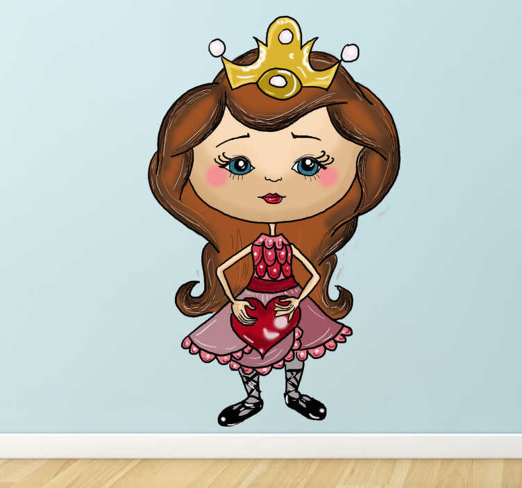 TenStickers. Little Princess With Heart Sticker. A cute sticker of a young princess, complete with a pretty dress and tiara holding a heart.