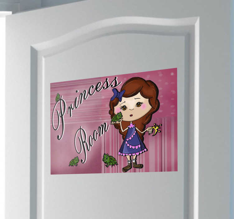 TenStickers. Sticker bambini illustrazione princess room. Adesivo decorativo per la porta dell'ingresso della cameretta della tua principessina ideato da Apatino Art.