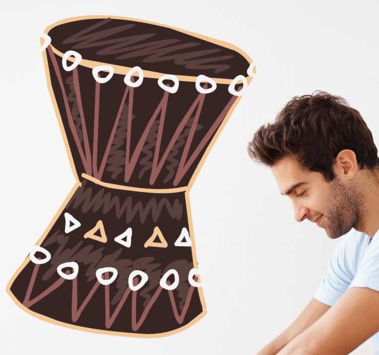 TenStickers. Afrikanische Trommel Aufkleber. Mit dieser Trommel als Wandtattoo können Sie Ihrem Wohnzimmer schnell und einfach eine afrikanische Note verleihen!