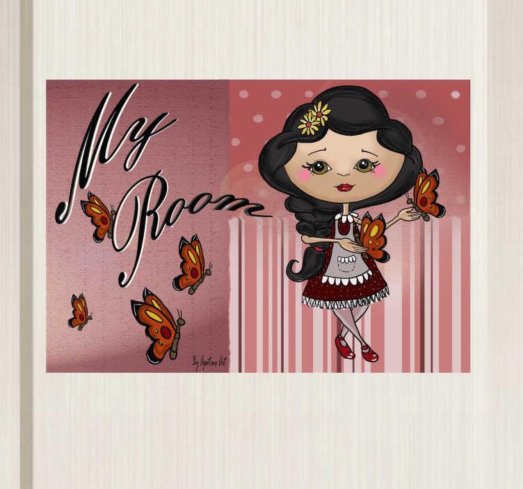 TenStickers. Sticker enfant my room papillons. Indiquez la chambre de votre enfant avec cet original sticker pour portes. Un dessin réalisé par Apatino Art en exclusivité pour tenstickers.fr.