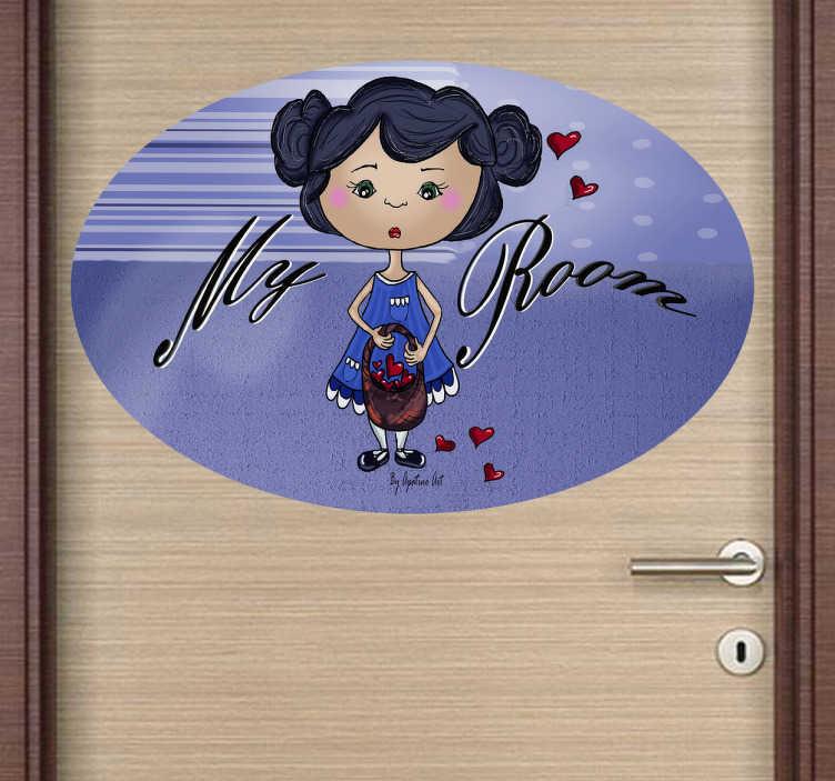 TenStickers. Mijn kamer meisjes sticker. Muursticker van een klein meisje gekleed in een jurkje met een tas en hartjes om haar heen! Op deze ovale sticker staat ¨My room¨!