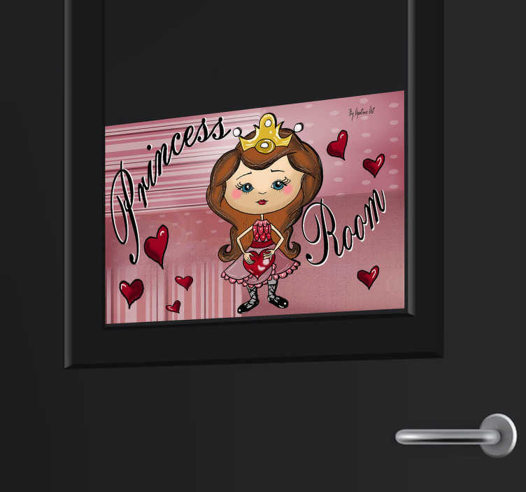 TenStickers. Princess Room Kids Decal. This wall sticker will show clearly where the room of the princess is. A fun and cheerful design of a princess with hearts and a pink background.