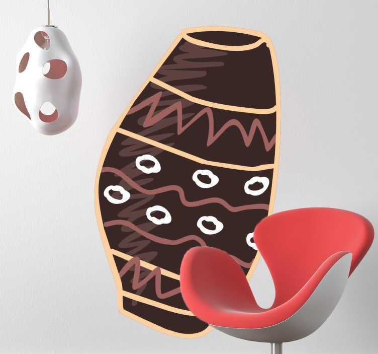 TenStickers. Wandtattoo afrikanisches Gefäß. Dekorieren Sie Ihr Schlafzimmer mit diesem originellen Wandtattoo eines wild gemusterten, abstrakten, afrikanischen Gefäßes.