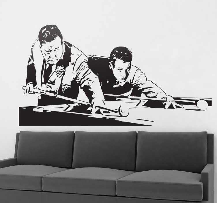 """TenVinilo. Vinilo decorativo escena the Hustler. Vinilo decorativo monocolor con una típica escena de este film americano protagonizado por Paul Newman.""""El buscavidas"""" es un clásico de 1961. Si te gusta el billar y las películas del genio de ojos azules ¿a qué esperas para regalarte este fantástico vinilo?"""