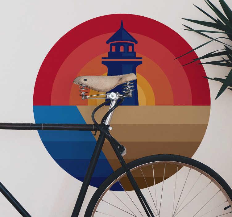 Sticker mural plage phare