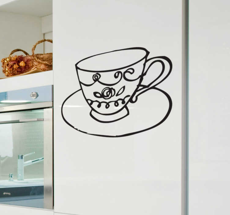 TenStickers. Sticker decorativo tazza 2. Illustrazione di una tazza di tè completa di piattino. L'adesivo ideale per decorare le pareti della cucina.