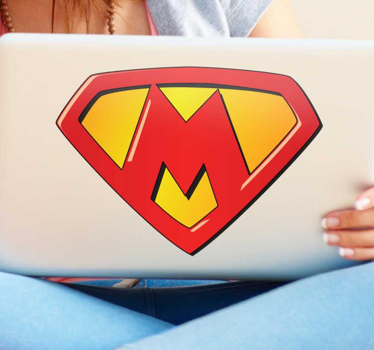 TenVinilo. Vinilo infantil super M. Un adhesivo especial para tus hijos, todos unos superhéroes. Házselo saber con este emblema de cómic.
