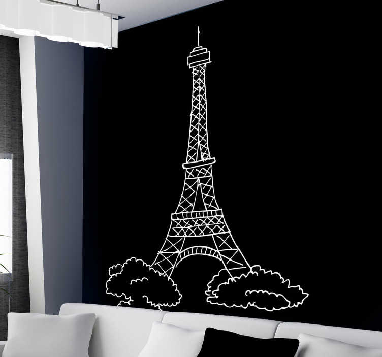 TenStickers. Sticker Eiffeltoren Parijs. Parijs is de stad van de liefde! Decoreer de muren of ramen van uw woning met deze tekening van de Eiffeltoren in de vorm van een muursticker.