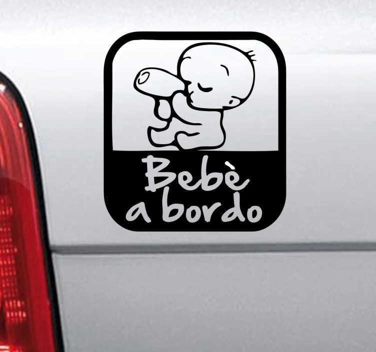 TenStickers. Sticker decorativo logo bebè a bordo. Decora la tua macchina con questo pratico adesivo e avvisa il resto dei conducenti che con te viaggia il tuo bimbo piccolo.