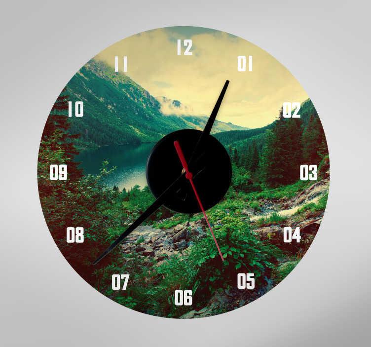 TenStickers. Autocolante decorativo relógio personalizável. Autocolante decorativo de um relógio, com o fundo totalmente personalizável, para poder ver as horas e uma foto do seu agrado ao mesmo tempo!