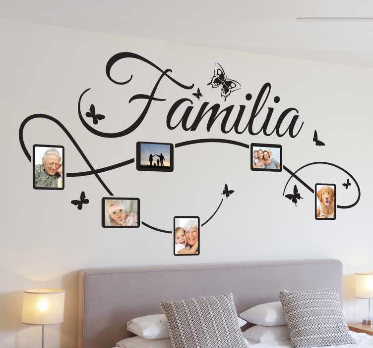 TenStickers. Dekorativer Aufkleber Familie. Nutzen Sie diesen Wandaufkleber um Ihre Familienfotos auf origineller Art und Weiße an der Wand zu präsentieren.