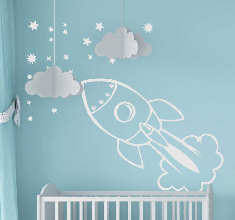 TenStickers. Spaceship Kids Sticker. An illustration of a spaceship launching into the stars from our collection of star wall stickers ideal to decorate your home!