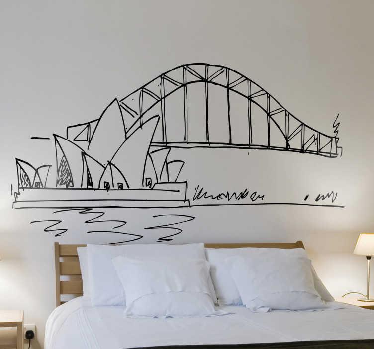 TenStickers. Naklejka dekoracyjna na ścianę szkic Sydney Opera. Naklejka dekoracyjna przedstawiająca Operę w Sydney. Oryginalny pomysł na ozdobę pustych ścian w pokoju. Dla wszystkich miłośników nowoczesnej architektury.
