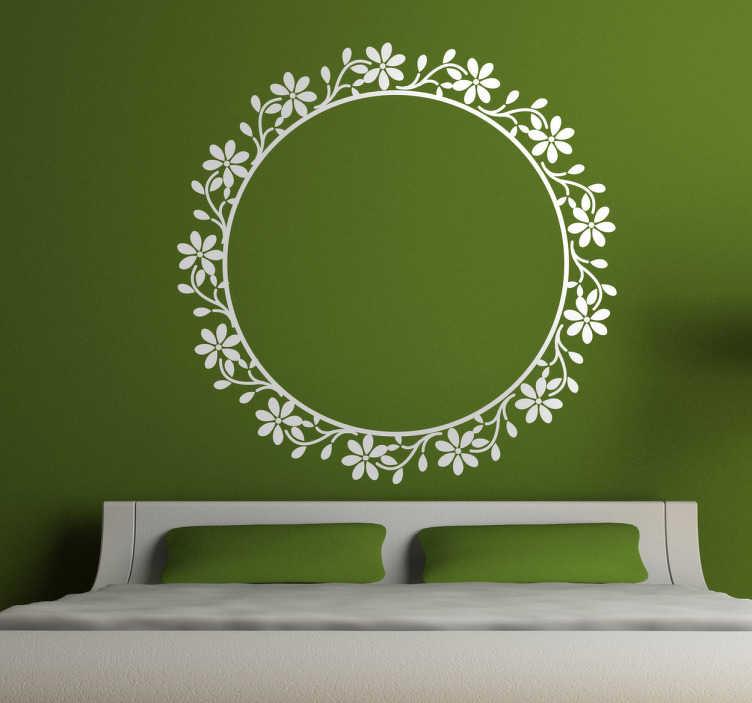 TenStickers. Naklejka okrągła kwiecista rama. Naklejka dekoracyjna o prostym wzorze, który odmieni puste ściany. Naklejka na ścianę przedstawiająca ramę lustra idealna do domowych przestrzeni.