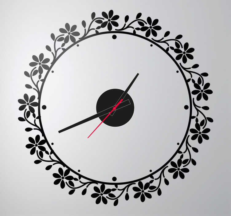 TenStickers. Floral Circle Frame Clock Sticker. Wall Clocks - Elegant floral wreath design. Simple and distinctive, ideal for decorating your home.